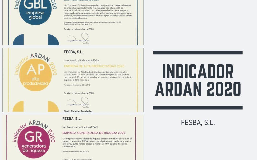 FESBA obtains three ARDAN 2020 indicators